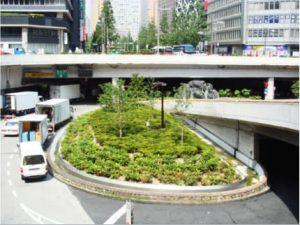 地下駐車場の上部植栽工事
